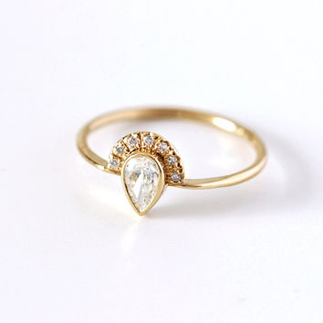 SIZE 7.5 - Pear Diamond Engagement Ring with Pave Diamonds Crown - 0.3 Carat Pear Diamond - 18k Solid ROSE Gold