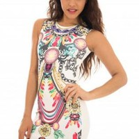 White Fitted Dress with Multicolor Mirror Print