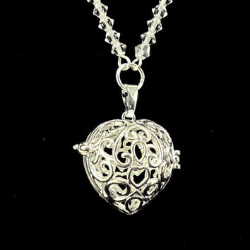 Aromatherapy Necklace - Beautiful, Silver, Heart Locket