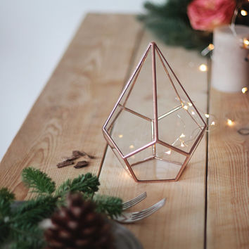 Geometric Glass Indoor Planter / Teardrop Terrarium / Geometric Holiday Decor / Christmas Table Centerpiece / Gifts For Her / Stained Glass