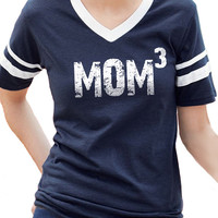 New Mom MOM 3 Womens T shirt V-Neck Jersey with Striped Sleeves Mothers Day Gift Baby Pregnancy shirt shower mom to be