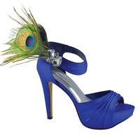 Royal Blue Silk Peacock Feather Platform Heels