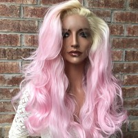 Blond Pink Swiss Human Hair Blend Multi Parting Lace front wig 10' 4177 ON SALE