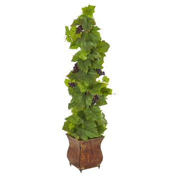Silk Flowers -4 Inch Grape In Square Metal Planter Artificial Plant