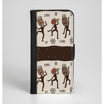The Dancing Aztec Masked Cave-Men Ink-Fuzed Leather Folding Wallet Case for the iPhone 6/6s, 6/6s Plus, 5/5s and 5c