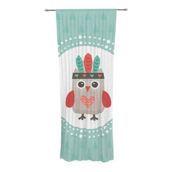 "Daisy Beatrice ""Hipster Owlet Mint Coral"" Teal Decorative Sheer Curtain"