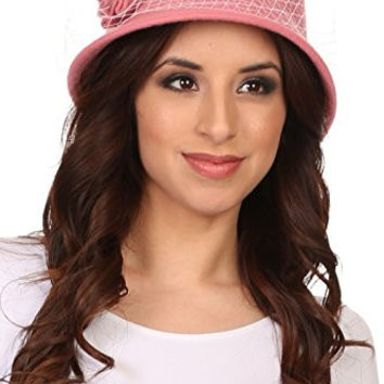 Sakkas CL2161 - Lola Vintage Style Wool Cloche Bucket Fish Net With Flower Brim Cap Hat - Blush Pink - OS