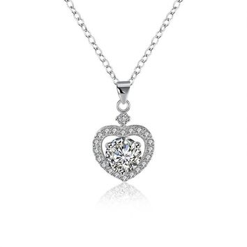 Sterling Silver Swarovski Crystals Heart Shaped Necklace
