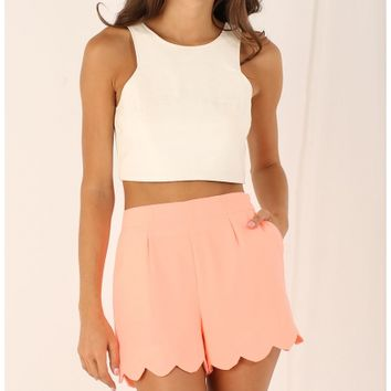 Shorts > Scalloped Shorts in Coral