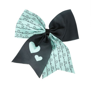 Blackheart Mint & Forest Green Hearts Cheer Hair Bow