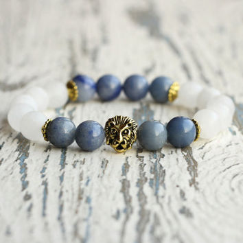 lion bracelet woman beads jewelry leo zodiac africa bracelet birthday gift idea blue aquamarine white bracelet men amulet gift for women