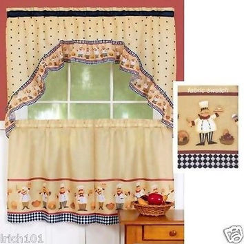 "Complete 3 Piece Cucina Fat Chef Bistro Kitchen Curtain Set With Swag and 36""L Tiers"