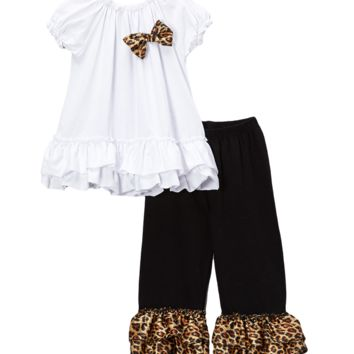 Cheetah Ruffled Capri & Top Set
