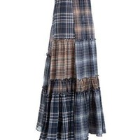 MAXSTUDIO Plaid Patchwork Maxi Skirt