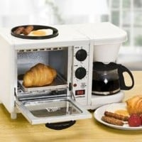 MaxiMatic EBK-200 Elite Cuisine 3-in-1 Breakfast Station 4-Cup Coffee Maker, White