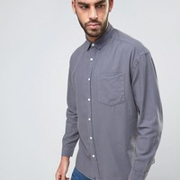 ASOS Oversized Casual Washed Oxford Shirt In Gray at asos.com