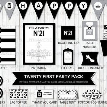 Twenty First Birthday, 21st, Party, Cupcake Toppers, Invitation, Favors, Instant Download, Modern, Minimal, Black Tie, Stylish, Digital