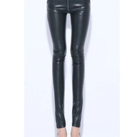 Black Skinny Zipper Leather Pant