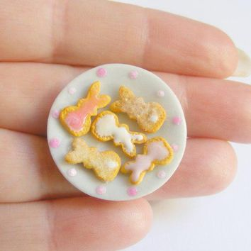Easter Bunny Sugar Cookies Miniature Food Ring   Miniature Food Jewelryhandmade Jewelry Ring