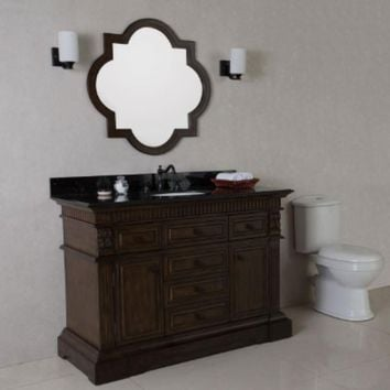 50 in Single sink vanity in sable walnut with black granite top