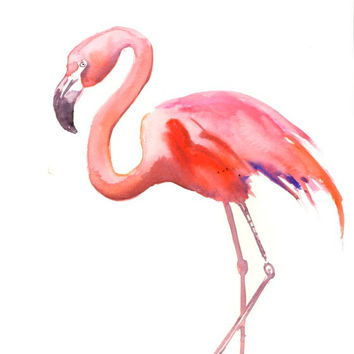 Flamingo Art, Painting, Original watercolor 12 X 9 in, pink flamingo lover, flamingo painting