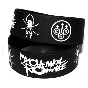 My Chemical Romance Silicone Wristband Show Your Support Rubber Power Men Bracelet Spider Punk Rock Band Music Lover