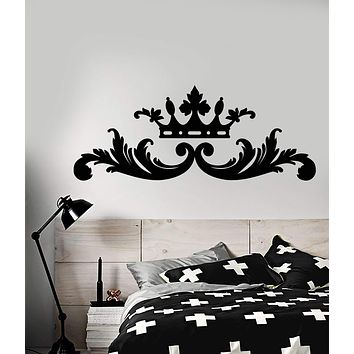 Vinyl Wall Decal Headrest Bed King Queen Crown Bedroom Decor Stickers (2894ig)