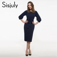 Sisjuly Sexy Business Dress Bodycon Summer Solid Women Work Dress Knee-Length Dresses O-Neck Office Dress