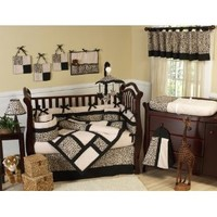 Animal print Safari Jungle Baby Boy or Girl Unisex Neutral Bedding 9pc Crib Set