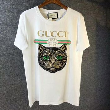 GUCCI Stylish Women Men Loose Cat Embroidery Sequin Print T-Shirt Top Blouse White I