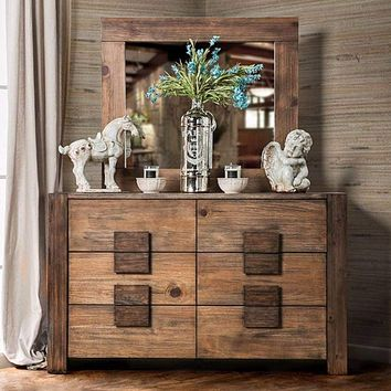 Transitional Style Poised Wooden Dresser, Rustic Natural Brown By Casagear Home