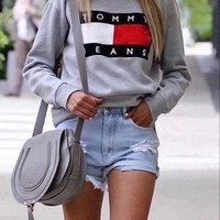 Tommy Jeans Fashion Long Sleeve Pullover Sweatshirt Top Sweater G