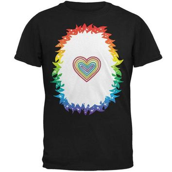 DCCKJY1 Halloween Rainbow Heart Unicorn Costume Pony Mens T Shirt