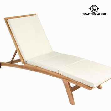 Teak lounger with cushion by Craften Wood