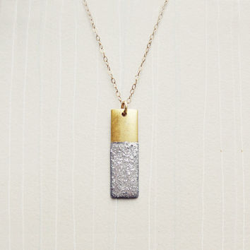 Glitter Necklace with Rectangle Pendant & Gold by HarperStreet