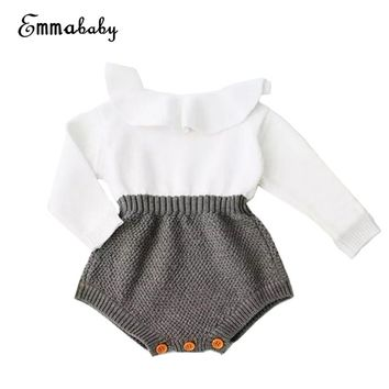 2017 Fall Winter Newborn Baby Girl Cute Knitting Romper Long Sleeve Cape Collar Patchwork Hot Toddler Kid Jumpsuit Clothes 0-24M