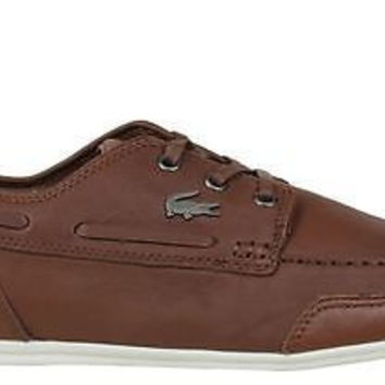 Lacoste Mens Causal Shoes Misano Boat 3 Tan Leather