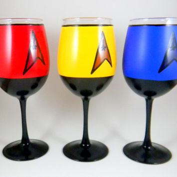 Star Trek Inspired Wine Glasses SET of Three