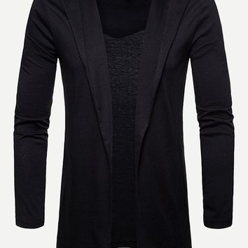 Men Solid Open Front Hooded Cardigan