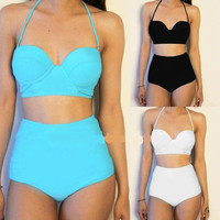 Womens Trendy High Waist Bikini Swimsuit