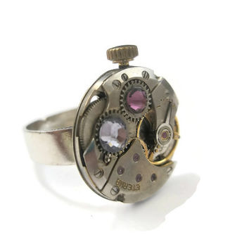 Jewelry Steampunk Ring Vintage Watch Ring clockwork Amethyst Violet  Swarovski crystal Siver Adjustable Band
