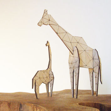 Origami Giraffe  laser cut wood  toy decor by AsymmetreeDesign