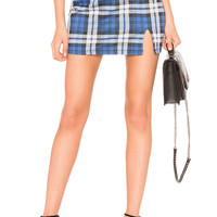 Motel Dina Skirt in Blue Plaid