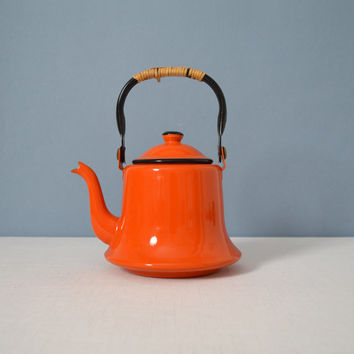 Vintage Otagiri Enamel Orange Teapot - Kettle