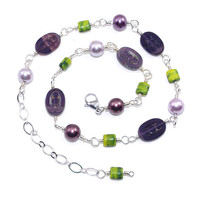 Czech Glass Bead Necklace – Purple Faux Pearl Wire Wrap Chain Necklace – Mixed Bead Jewelry - Birthday Present for Her