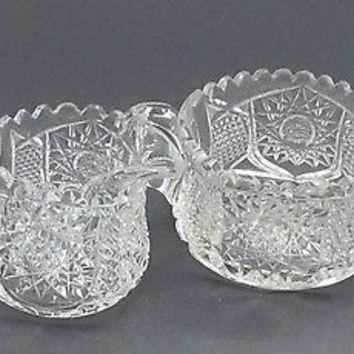 American Brilliant  Cut glass sugar and creamer Signed Maple city Hawley PA