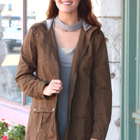 Utility Coat with Striped Contrast Hood {Olive}