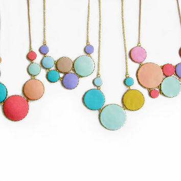 Colorful Statement Necklace, Bubbles in Mint, Peach, Pink, Purple, Coral Red - Color Dot Collection - Handmade Polymer Clay Necklace