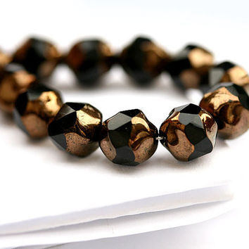 Czech black beads 9mm glass round cut with gold luster - 15Pc - 491