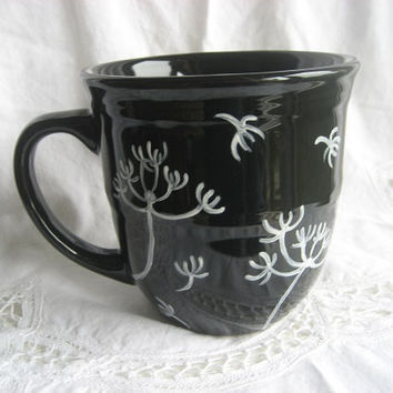 Cup Mug Dandelions design Coffee tea Black & White Gift Idea Porcelain ceramic pottery Hand Painted Kiln fired  by B Marsh